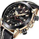 Herren Uhren Fashion Sport Wasserdicht Analog Quarzuhr Männer Luxusmarke LIGE Military Casual Schwarz Leder Datum Chronograph Armbanduhren
