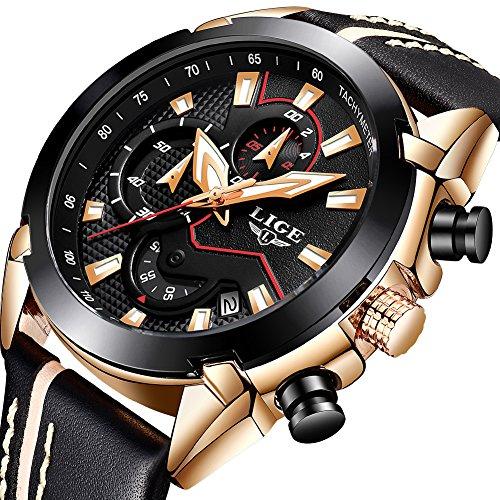 LIGE Herren Uhren Sport Militär Quarz Analoguhr Herren Fashion Wasserdicht Chronograph Großes Zifferblatt Leder Blau Armbanduhr