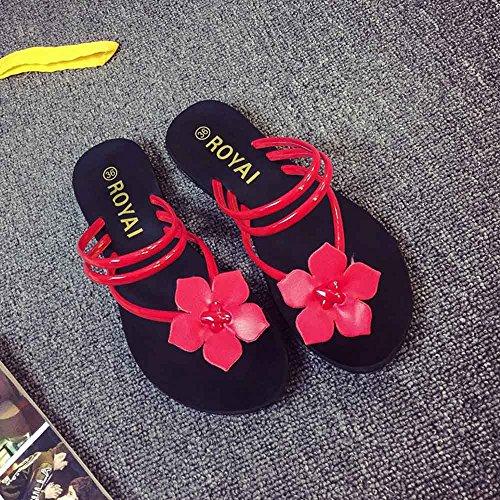 Longra Sandales Femme Strap Plats À Fleurs Rouge