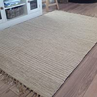 Algodón Natural y yute color crema claro de 120 cm x 180 cm alfombra de corredor de la raya (Natural)