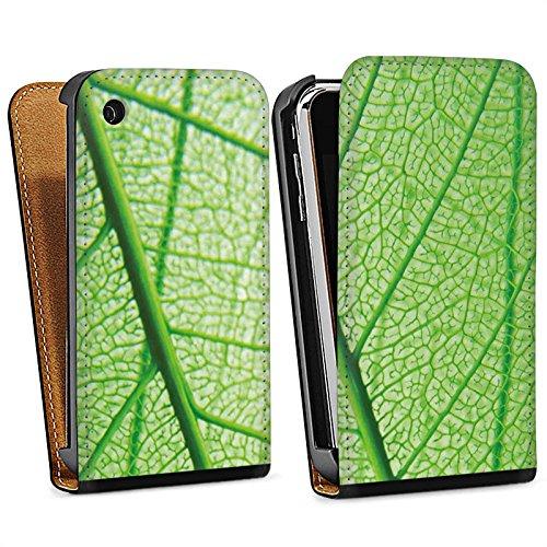 Apple iPhone 5s Housse Étui Protection Coque Feuille Plante Vert Sac Downflip noir