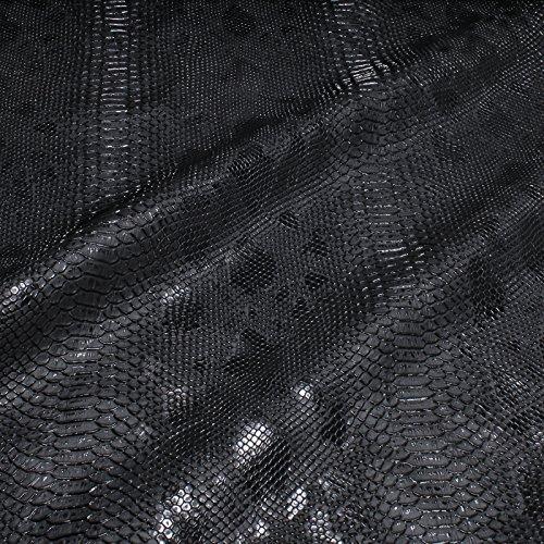 Stoff PVC Kunstleder Krokodil schwarz leicht glänzend -