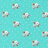 Tela flores y puntos (blanco, fucsia, rosa claro, verde hoja y rojo - color de fondo: turquesa) - 100% algodón suave | ancho: 160 cm (1 metro)