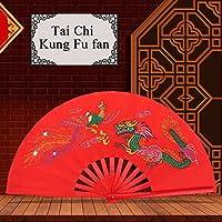 Chino Tai Chi Ventilador Rojo Kung Fu Ventilador de Lucha Artes Marciales Danza Ventilador de bambú Dragón + Phoenix Ventilador de Mano Plegable