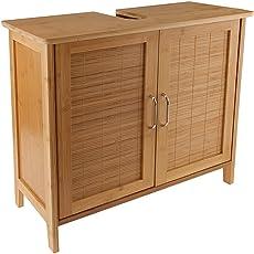 Limal Waschtischunterschrank Bambus braun 27 x 60 x 60 cm | Verstellbarer Einlegeboden| Teilrückwand | Aussparung für Siphon