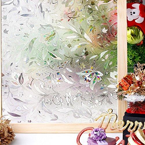 Homein 3D Fensterfolie Selbsthaftend Klebefolie Fensterbilder Fenster Sichtschutzfolie Bunt Glasfolie Fensterfolien Blickdicht Window Film Folie Sichtschutz Selbstklebend Glastür Aufkleber Kleben ohne Kleber mit Motiv Blumen Geblümt 44.5 x 200 cm