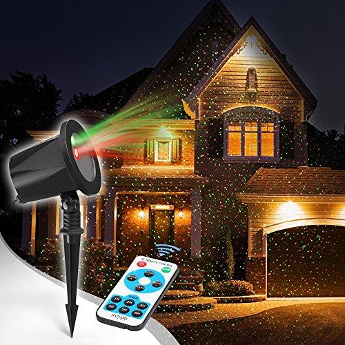 Proiettore Lampada Natale in Alluminio InnooLight Proiettore Stelle Verdi e Rosse IP65 con RF Telecomando per Natale Feste