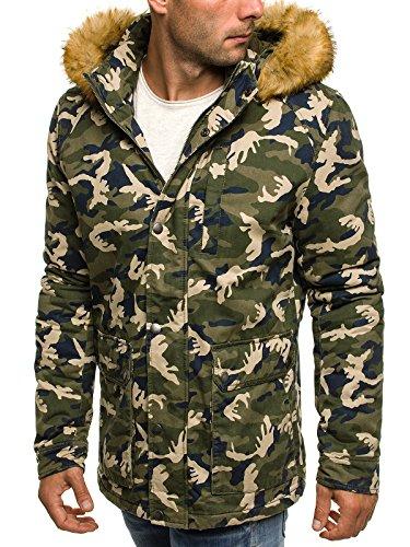 OZONEE Herren Winterjacke Wärmejacke Parka Camouflage Militärstil Armee Steppjacke Jacke Sportjacke Kapuzenjacke STEGOL 905 Grün-Camo_OZN-3168