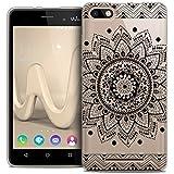 Sunrive Coque pour Wiko Jerry Silicone Étui Housse Protecteur Souple TPU Gel Transparent Back Case(TPU Fleur Noire)+ Stylet OFFERTS