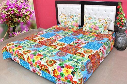 hashcart Colorful Squares Doppelter Bettunterlagen aus Baumwolle mit 2Kissenbezügen (Floral-bett-satz)