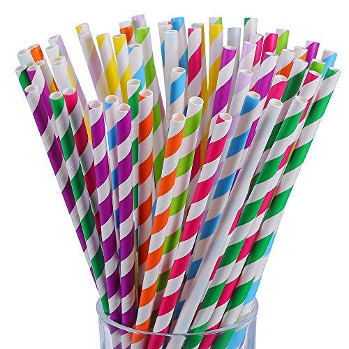 antner 225pcs Celebration, Papier, Trinkhalme biologisch abbaubar Stripe Trinkhalm für Partys und Arts Handwerk Projekte, multicolor