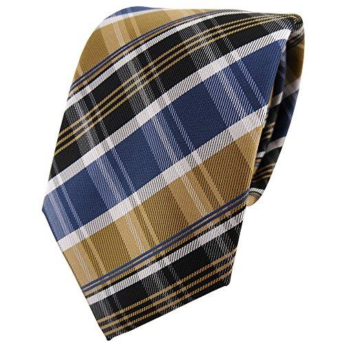 TigerTie - Corbata - oro azul gris plata marrón oscuro rayas