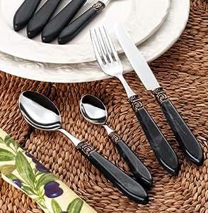 Esmeyer Helena - Service de 30 couverts HELENA, en inox 18/10 poli, manche en plastique marbré, couleur: noir