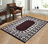 Zircone Ethnic Premium Design Chenille Carpet/Mat/Rug (5 ft x 7 ft ) For Living Room/Bedroom/Drawing room & Dining Hall (Brown)