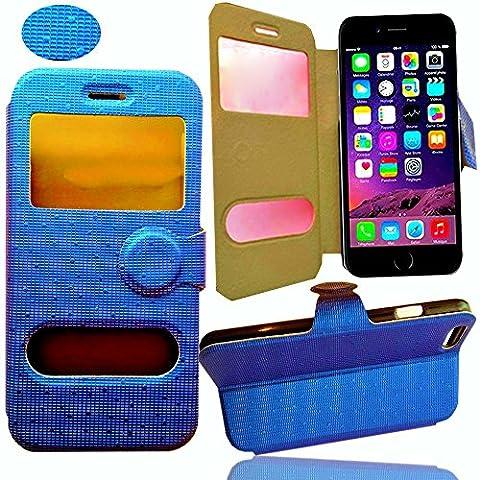 *** LUXE *** Etui Housse IPHONE 6 PLUS Coque Iphone 6+ flip cover FOLIO Portefeuille S View Couleur avec motif BLEU pochette clapet STAND VIDEO Protection style cuir PU à rabat pour Smartphone Apple Iphone 6 + 5.5 pouces 16 gb 32 go 64go 128 go 5 5 Inch 5.5