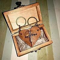 Llaveros personalizados para parejas con forma de corazón en dos mitades