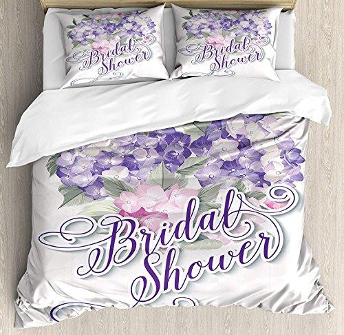 Soefipok Bridal Shower 3 PCS Bettbezug Set, Shabby Chic Hortensien Romantische Braut Blumen Bild Kunstdruck, Bettwäsche Set Tagesdecke für Kinder/Jugendliche/Erwachsene/Kinder, Lila und Hellrosa (Shower Bridal Chic Shabby)