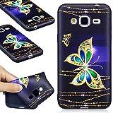 DENDICO Coque Galaxy J3 2016, Ultra Mince Silicone Coque pour Samsung Galaxy J3 2016, Étui Housse Protection Anti Choc Bumper Case Cover - Noir, Papillon
