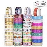 NUOLUX Washi Tape Masking Tape Ruban adhésif décoratif arc-en-ciel Ruban Coloré pour DIY Artisanat Scrapbooking Emballage cadeau Collection, 3m x 15mm, lot de 40