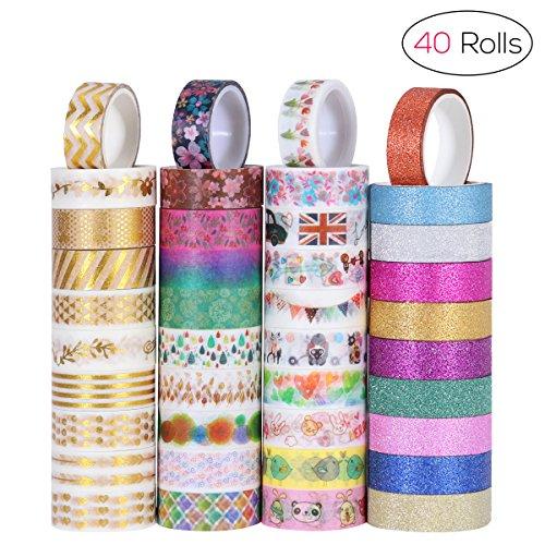 NUOLUX Washi Tape Masking Tape Dekorative Regenbogen Klebeband buntes Klebebänder für Sammelalbum DIY Handwerk Geschenkverpackung Sammlung,3m x 15mm,40-er Pack (Organizer Wand Geschenkpapier)