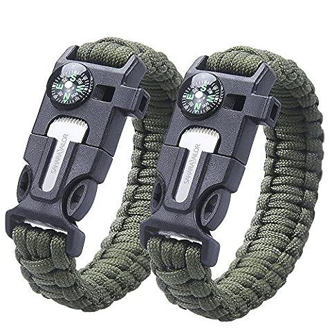 2 PACK Multifunktional Paracord Armband, Sahara Sailor Outdoor Survival Kit Fallschirmseil Schnalle W Kompass Flint Fire Starter Scraper Whistle für Wandern Camping Notfall - Armee (Grüne Scraper)