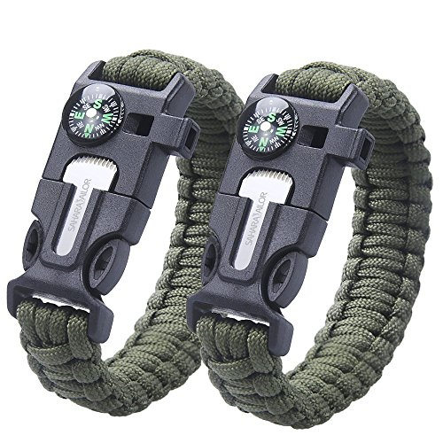2PCS PACK pulsera de la supervivencia , Sahara Sailor Outdoor Survival Kit Parachute Cord Buckle W Compass Flint Fire Starter Scraper Whistle for Hiking Camping Emergency - army green