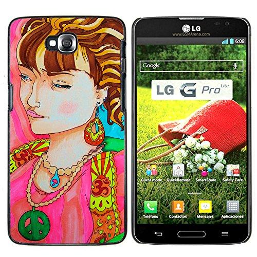 LG G Pro Lite / D680 D682TR - Aluminum Metal & plastica dura Phone caso - nero - La donna del ritratto Collana Simbolo Hippie