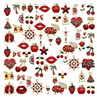 30pcs Mixed Enamel Red Theme Charms Pendants for Jewelry Making Bulk lot Necklace Earrings Bracelet Craft Findings