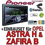Opel Astra H Zafira B silber - Pioneer FH-X720BT - 2DIN USB Bluetooth CD Autoradio Apple iPod/iPhone-Direktsteuerung - Einbauset