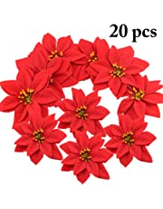Outgeek Christmas Poinsettias Red Velvet Decorative Artificial Flowers Christmas Flowers