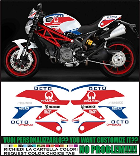 Kit adesivi decal stikers DUCATI MONSTER 696 795 796 800 1100 PRAMAC YAKHNICH (ability to customize the colors)