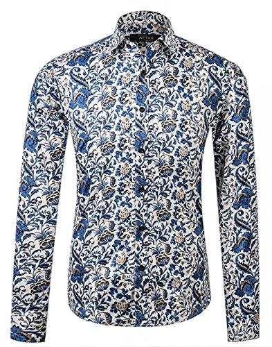 APTRO Herren Fashion Baumwolle Mehrfarbig Luxuriös Blumen Langarm Shirt APT1012 XL