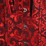 VEMOW Elegante Damen Vintage Gothic Party Blumen Braut Dessous Schnüren Schlank Lace Up Satin Ohne Knochen Korsett Bustier Tube Top(X1-Rot, 42 DE / 2XL CN(Oberteile))