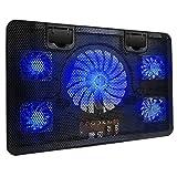 """Bestfire portátil de refrigeración Chill alfombrilla con 5ventiladores LED azul luces y 2puertos USB 2.0para ordenador portátil Notebook Cooler para 14""""-17"""""""