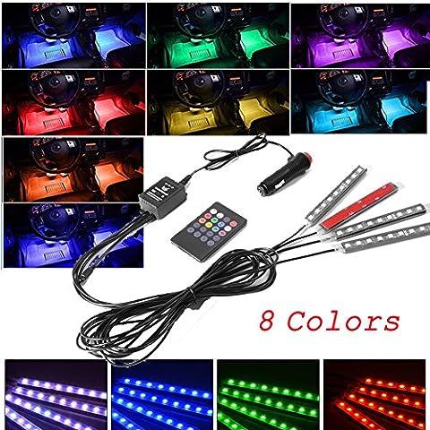 4PCs Auto-Innenraum-Atmosphäre Beleuchtung mit 8 Farbe 9 LED-Licht, Auto-Innenraum Fußwell Beleuchtung Kit, Neon Deko Licht Streifen mit Sound aktiv Funktion und Wireless IR Fernbedienung