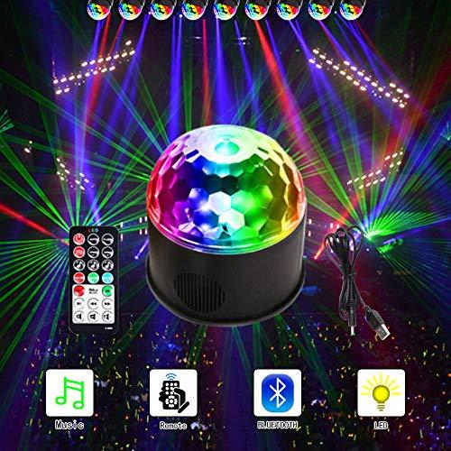 ANKENGS LED Discokugel, Kinder Disco Licht Partyleuchte Disco Lichteffekt 9 Farbe mit Fernbedienung & USB für Kinder Halloween Weihnachten Geburtstag Karaoke Club Bar