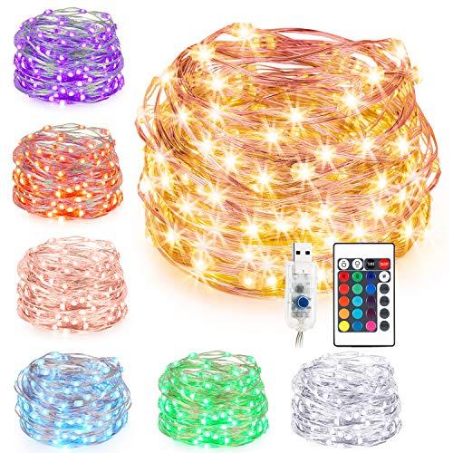 0 LEDs Lichterkette Silberdraht, USB Powered Bunte Lichterkette Farbwechsel mit Fernbedienung, Indoor String Licht für Schlafzimmer Party Außen Garten Hochzeit ()