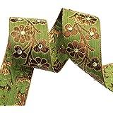 ajuste verde cinta floral frontera sari 4,0 cm de ancho de corte de tela decorativa indio por el patio