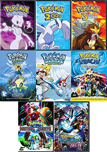 Pokemon: First 8 Original Movie DVD Collection (Lucario and the Mystery of Mew / Heroes / Destiny Deoxys and More)
