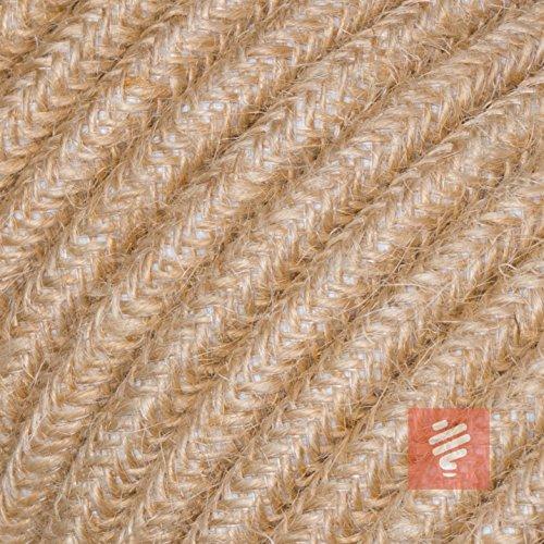Textilkabel für Lampe, Stoffkabel aus Leinengarn, 3-adrig (3x0,75mm²) * Made in Europe * Jute - 5 Meter
