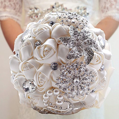 Fouriding Hand Made Diamond Pearl Satin Roses Bridesmaid Bridal Artificial Bouquets Customization Bride Holding Bouquet Wedding for Photo Shooting, Valentine's Day, Birthday,Creystal Creamy White