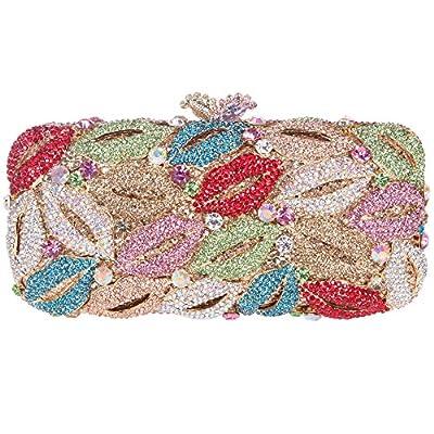 Bonjanvye Shining Studded Lips Shape Clutch Purse Rhinestone handbag for Ladies