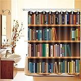 LB Buntes Bücherregal Duschvorhang,Wasserdicht Schimmelresistent Polyester Fabrik Badvorhänge für Badezimmer,180 * 180cm mit 12 Ringen