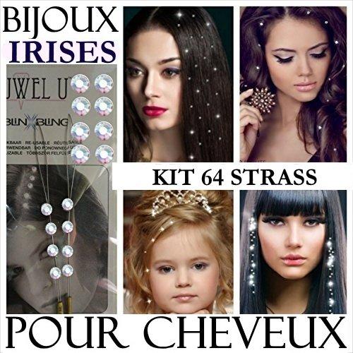 strass cheveux irisés kit promo super prix super qualité 64 STRASS POUR CHEVEUX pour cheveux mariage ornés de strass Irisés Swarovski. Fixation à froid à enfiler. 8 kit de 8 STRASS IRISES + 4 GRANDES PLANCHES DE TATOUAGES EN CADEAUX. BIJOUX CHEVEUX COIFFURE PROFESSIONNELLE. Notre boutique : https://www.amazon.fr/s?ie=UTF8&me=AS43L7ZQKLNBO&page=1