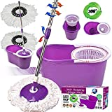 Crystals 360 Degree Spinning Mop Bucket Home Cleaner With Two Mop Heads in