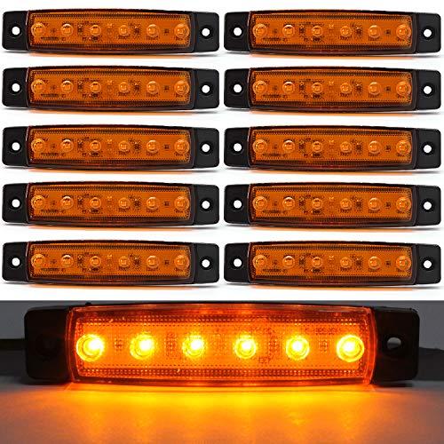 Preisvergleich Produktbild LED Seitenmarkierungsleuchten Positionsanzeigen Bernstein 12V Wasserdichte LED Seitenlampen für Lkw Anhänger Lkw Kabine Bus Traktor 10 stücke