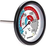 Stor BBQ-termometer, röktermometer, rökgrill, rökugn; rostfritt stål