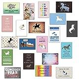Einhorn Geschenk , Einhörner Postkarten Einhorn Set - 20 verschiedene Postkarten mit Einhorn-Sprüchen