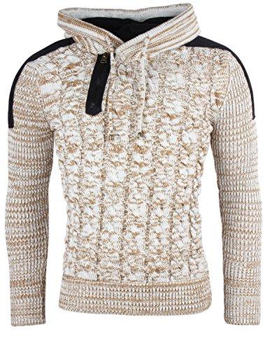 TAZZIO Herren Pullover Grobstrick Modischer Rollkragenpullover Winterpullover Zierknöpfe Pulli Größe S - 3XL Ecru Beige Brooklyn