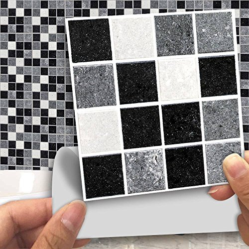 "APSOONSELL Pack of 18 pcs Mosaic Tile Transfers for Bathroom Kitchen Stick on Wall Tile Stickers, Peel and Stick Self-Adhesive Wall Tiles - 4"" x 4"" (10cm x10cm),Black and White Mosaic"